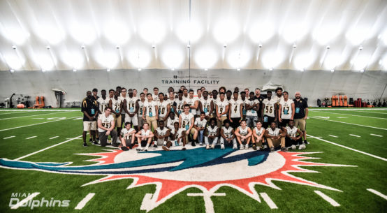 Miami Dolphins OTA hosted Boca Raton High School football team.